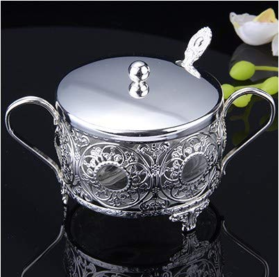DeemoShop European Kitchen silver plated spices salt sucrier wedding coffee mug glass sugar bowl/pot spoon with ()