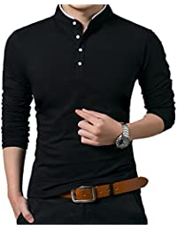 f6ae0240982 Men s Casual Slim Fit Shirts Pure Color Short Sleeve Polo Fashion T-Shirts