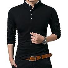 KUYIGO Men's Casual Slim Fit Pure Color Short Sleeve Polo Fashion T-Shirts