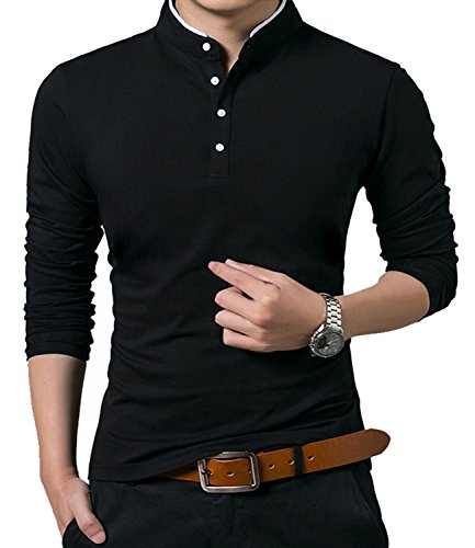 - KUYIGO Men's Casual Slim Fit Shirts Long Sleeve Polo Shirts Large Black