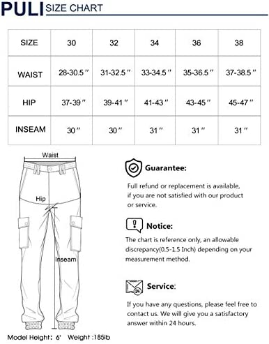 PULI Men's Tapered Cargo Pants Slim Fit Chino Joggers Work Trousers with Pockets