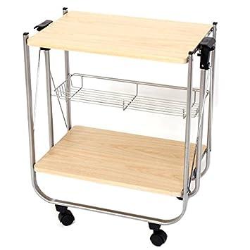 Carrello tavolino porta vivande pieghevole 2 ripiani legno e ...