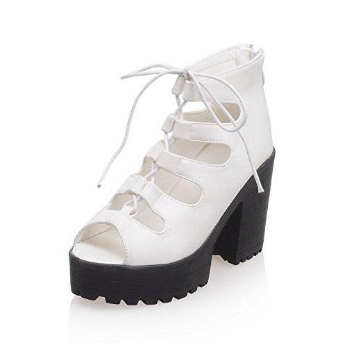 AmoonyFashion Womens PU High-Heels Open-Toe Solid Zipper Sandals White GaLs6