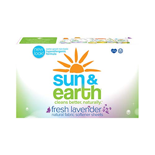 Dryer Sheets by Sun & Earth, Lavender Scent, Plant-Based, Hypoallergenic Fabric Softener Sheets, Safe Around Kids & Pets, Non Toxic, 80 Count