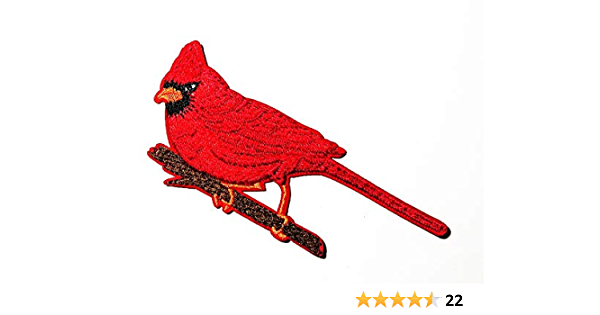 Iron on Red Male Bird Facing Left Badge 2-38 Cardinal Applique Patch