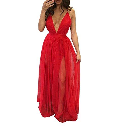 Vestido de mujer, Dragon868 Verano gasa V cuello sin mangas noche fiesta playa largo vestido de mujer Rojo
