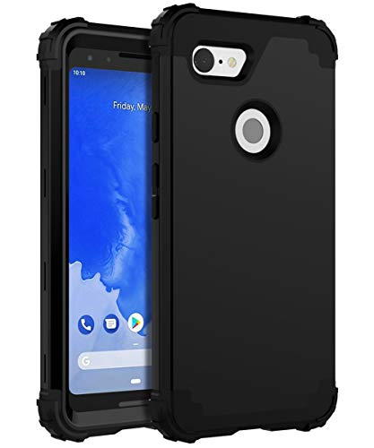 XIQI Google Pixel 3 Case Three Layer Heavy Duty Shockproof Protection Anti-Fingerprint Protective Cover - Black