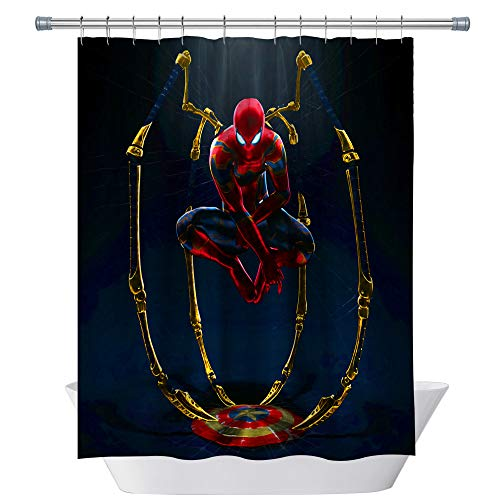 CHENGHUI Fantasy Shower Curtain Spiderman with Gold Spider Legs Step on Captain America Shield Bathroom Decor Set with Hooks,71X71 Inchs,Polyester Blue Red