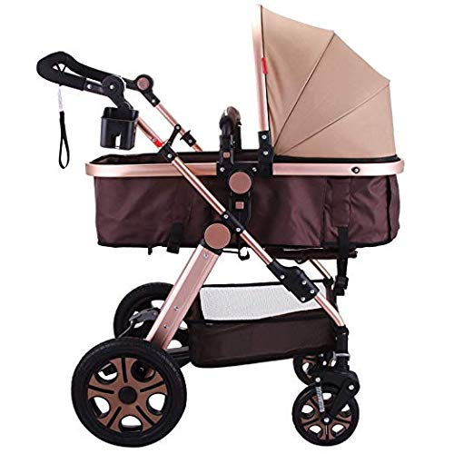 Happybuy Foldable Luxury Baby Stroller Travel System with Baby Basket Anti-Shock Springs Newborn Baby Pushchair Adjustable High View Pram Travel System Infant Carriage Pushchair 3IN1, Gold