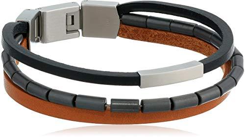 (Fossil Men's Multi-Strand Black and Brown Leather Bracelet)
