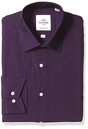Ben Sherman Men's Tonic Poplin Slim Fit Dress Shirt, Grape, 16