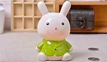 Strollway Lindo Y Divertido Bunny Piggy Bank Adornos De Ceramica