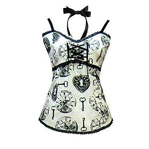 Victorian Steampunk Gothic Alice in Wonderland Clock Print Camisole Ivory Black