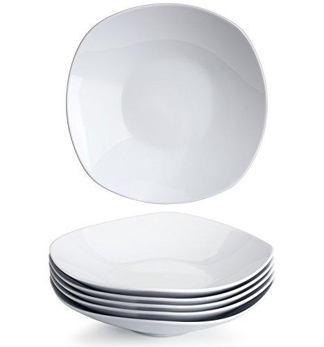Bowl Pasta Square (YHY 9-inch Porcelain Salad/Pasta/Cereal Bowls,White Square Bowl Set, Wide & Shallow, Set of 6)