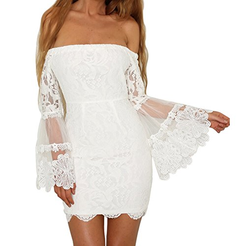 White Strapless Wedding Dresses - Fancathy Women's Sexy Lace Dress Off Shoulder Strapless Lace Dress Long Flare Sleeves Bodycon Dress For Party Wedding
