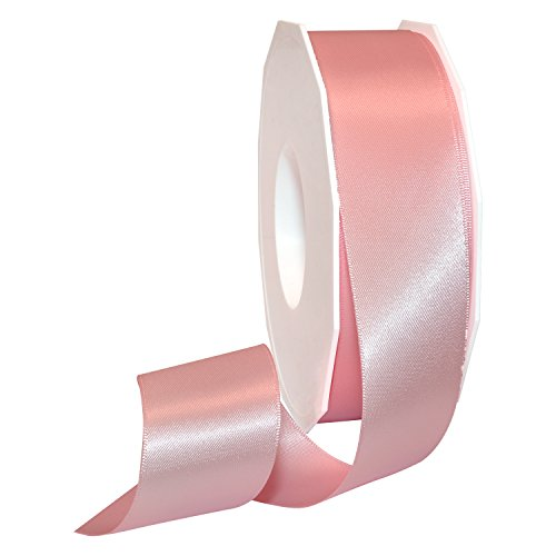 Morex Ribbon 08838/50-117 Double Face Satin Polyester Ribbon, 1 1/2-Inch by 50-Yard, Light Pink