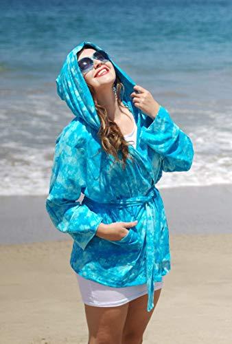 Belted Hooded Bright Tie-Dye Kimono Coat, Kimono Cover, Stretch Knit Wrap Jacket, Light Blue Watercolor Beach Coat with Pocket and Sash. KIMON221 KIMN21 ONE Size (M-XXL) ()