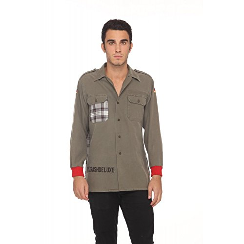 the best attitude d71ad 86768 TRASHDELUXE Camicia verde militare back grey checked: Amazon ...