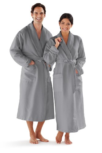 - Boca Terry Microfiber Bathrobe Grey Microfiber Shawl Collar One Size Fits All - Unisex