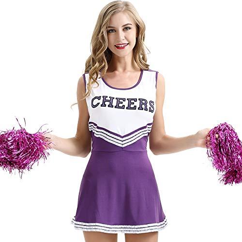 XS-XXL Sexy Baby Female Cheerleading Skirt Stage Dress Mini Skirt Halloween Women Cheerleading Costume (Purple,XXL)]()