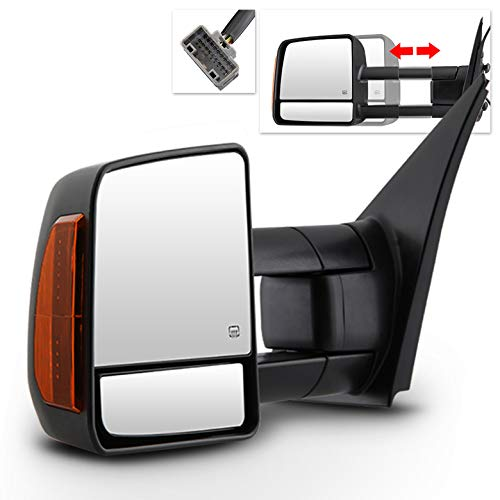 (2007-2017 Toyota Tundra, 2008-2017 Sequoia Power Adjust Tow Mirrors w/Heated & LED Signal 2009 2010 2011 2013 2015)