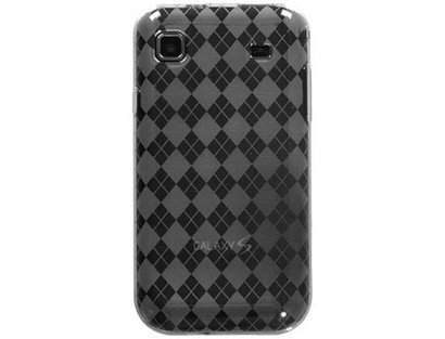 TPU Flexible Plastic Phone Protector Cover Case Smoke Argyle For Samsung Vibrant Galaxy S 4G