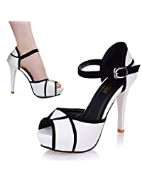 Women Girl Peep Toe Ankle Strap Stiletto Shoes High Heel Platform Buckle Sandals