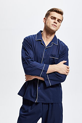 Men's 100% Cotton Pajama Set, Long Sleeve Woven Sleepwear from Tony & Candice (X-Large, Navy Blue with White Piping) by TONY AND CANDICE (Image #2)