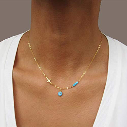 (Tgirls Fahion Blue Evil Eye Necklace Chain Short Sideway Cross Necklaces Turquoise Jewelry for Women and Girls (Gold))