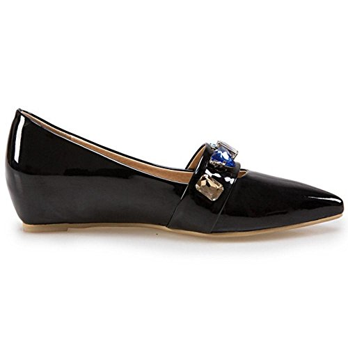 COOLCEPT Zapato Mujer Moda Medio Tacon de Cuna Heel Resplandecer Sin Cordones Court Zapatos En aumento Negro