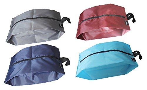 Portable Bag Travel (MISSLO Portable Nylon Travel Shoe Bags With Zipper Closure (Pack 4, Mix Color))
