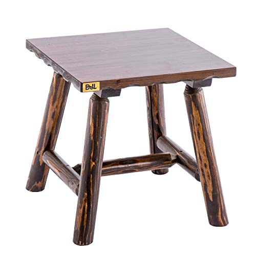 Dark Wood End Table Rustic Outdoor Log Square Side Table Heavy Duty Patio End Table for Rocking Lounge Chairs
