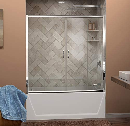 DreamLine Visions 56-60 in. W x 58 in. H Semi-Frameless Sliding Tub Door