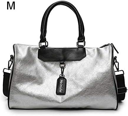 WRI.UY Silver Sports Lady Luggage in Travel Bags with Tag Duffel Gym Bag Leather Women Yoga Fitness Sac De Sport Big Xa806wd