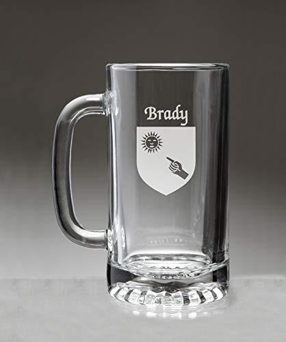 (Brady Irish Coat of Arms Glass Beer Mug (Sand Etched))