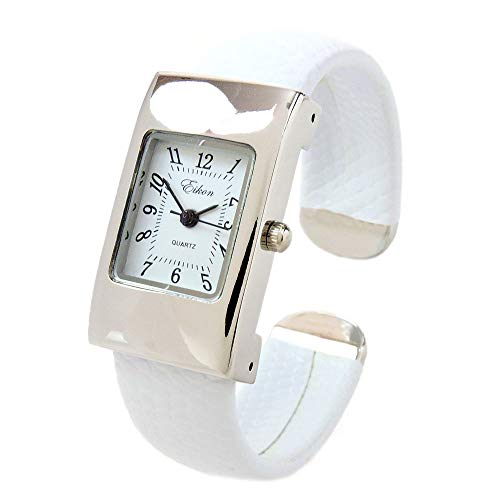 FTW White Silver Snake Style Band Rectangle Case Women's Bangle Cuff Watch