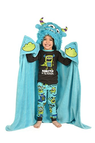Price comparison product image Monster In The Morning Childrens Hooded Animal Critter Blankets by LazyOne | Childrens Dress Up Large Travel Blanket (ONE SIZE)