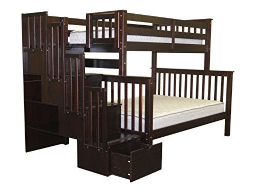 Bedz King Stairway Bunk Bed Twin over Full with 4 Drawers in the Steps, Cappuccino