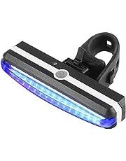 Nologo - Luz LED recargable por USB, brillante, para bicicleta, ciclismo, delantero, trasero, luz delantera, 6 modos, impermeable, azul/rojo, color azul, tamaño A