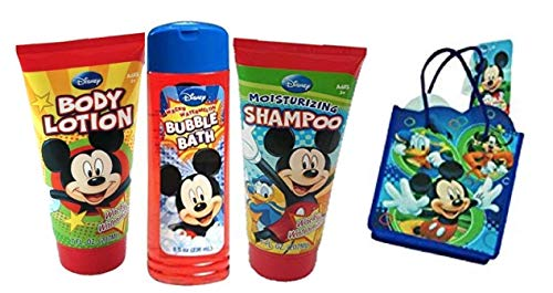 (MZB accessories upd Mickey Mouse Clubhouse Kids Bath Time Gift Set! Lotion, Shampoo, Bundle with Bubble Bath Plus Bonus Resuable Mickey & Friends Mini Tote Gift Bag!)