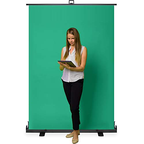 KHOMO GEAR Jumbo Size 55'' x 82'' Green Screen Collapsible Pull-Up Extra Large Streaming Portable Backdrop Setup with Auto-Locking Frame by KHOMO GEAR (Image #1)