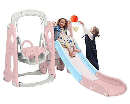 BAHOM 3 in 1 Climber Slides Playset for Boys Girls Indoor and Outdoor Play, Kids Climber with Slide and Swing for Toddlers, Ages 6 Months to 6 Years Old (Pink)