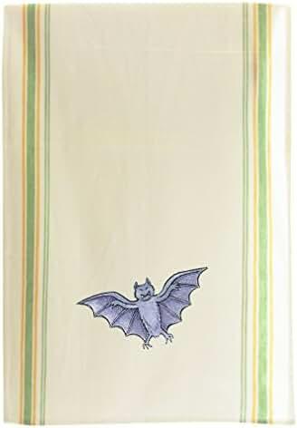 Bat Vintage Look Retro Stripe Dish Kitchen Towel Green