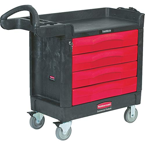 Rubbermaid Commercial Trademaster 4 Drawer Mobile Work Center, 43