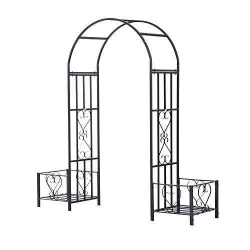 Outsunny Decorative Metal Backyard Garden Arch (Planters) - Garden Arch