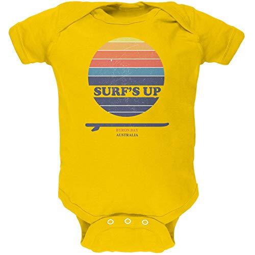Byron Bay Surf - Surf's Up Byron Bay Australia Soft Baby One Piece Yellow 3-6 M