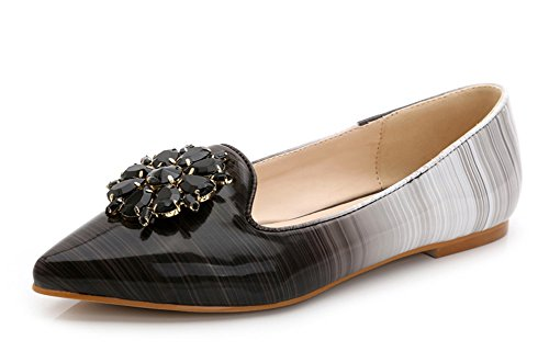 Aisun Damen Pointed Toe Strass Asakuchi Streifen Niedrig Absatz Flach Schuhe Schwarz