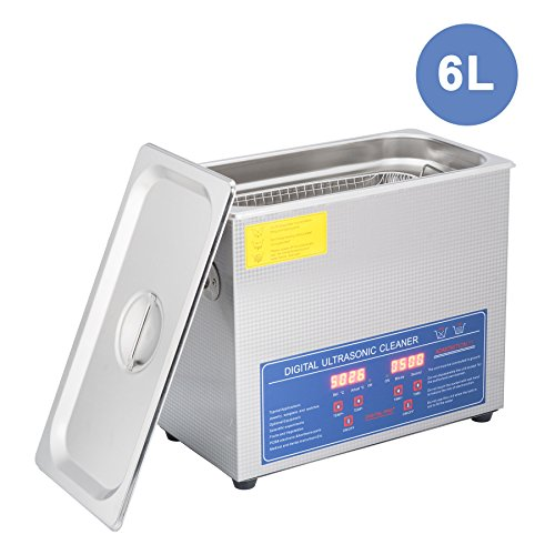 CO-Z 6L Professional Ultrasonic Cleaner with Digital Timer&Heater for Cleaning Jewelry Glasses Watch Dentures Small Parts Circuit Board Dental Instrument, Commercial Electric Ultrasound Clean Machine