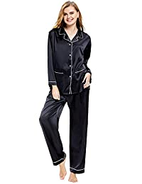 Aibrou Women's Satin Pajamas Set Long Sleeve and Long Button-Down Sleepwear