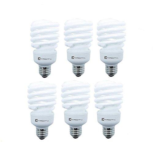 Compact Fluorescent Light Bulb T2 Spiral CFL, 5000k Daylight, 23W (100 Watt Equivalent), 1520 Lumens, E26 Medium Base, 120V, UL Listed (Pack of 6) - 23w Spiral